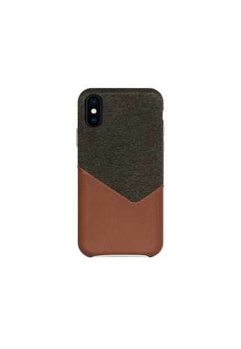 OBX brown Irish Layered  iPhone X/Xs Fabric Mixed Leather Snap-On Case 995CCACB1C5CA1GS_1