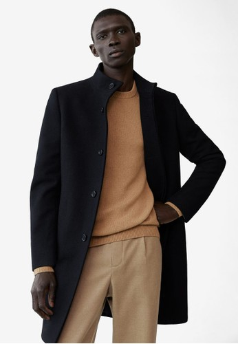 MANGO Man black Tailored Wool-Blend Overcoat 3F0D6AA7FCAFAAGS_1