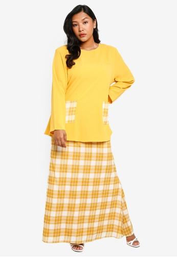 CURVA FABULOUS yellow Kurung Kedah Plaid 1E5F6AA4A48D73GS_1