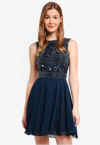 Lace & Beads navy Collette Skater Dress 83D0EAA608C7E2GS_1