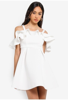 8e900a8114 Miss Selfridge white Petite Ivory Cold Shoulder Scuba Dress  345A7AAFCE1518GS 1