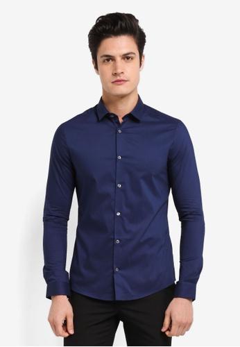Burton Menswear London navy Long Sleeve Navy Stretch Shirt 4812AAA05FFCC8GS_1