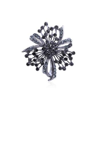 Glamorousky black Elegant and Fashion Flower Brooch with Black Cubic Zirconia 1479FACE1DE8FFGS_1