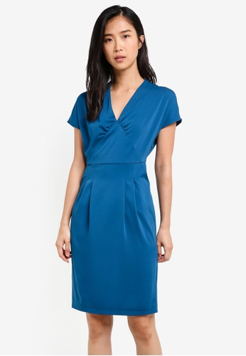 ZALORA blue Sheath Dress With Gathered Details 3DE13AAEDFDAA4GS_1