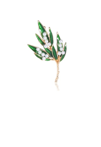 Glamorousky white Fashion Simple Plated Gold Green Leaf Imitation Pearl Brooch 96581AC408185DGS_1