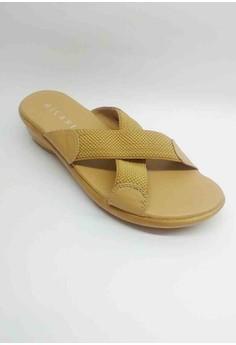 Ave Elastic Cross Strap Casual Beige Slip-on Sandal