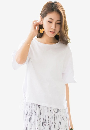 Tokichoi white Lace Tie Cropped Tee FB998AA7471FDEGS_1