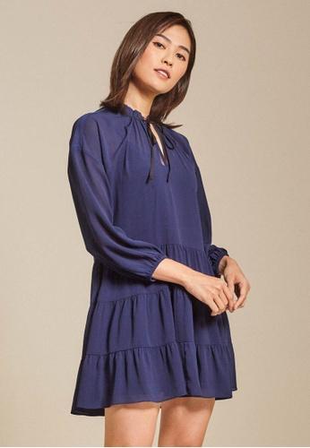 Dressing Paula navy Tiered Crinkled Chiffon Mini Dress 9AB15AA0456F88GS_1