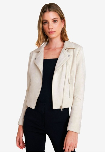 FORCAST white Kirsty Faux Suede Jacket A2208AA0BCB07EGS_1