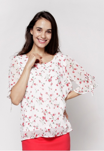 Nicole Exclusives white Short Sleeve Blouse 883FDAA12F2523GS_1