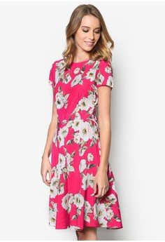 Pink Floral Fit And Flare Dress