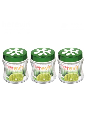 Herevin Herevin 3 Pcs 950ML Embossed Stripes Canister Set / Container Set / Storage Jar Set / Balang Kuih Kaca - Green / Purple / Red 927CBHLED8C31DGS_1