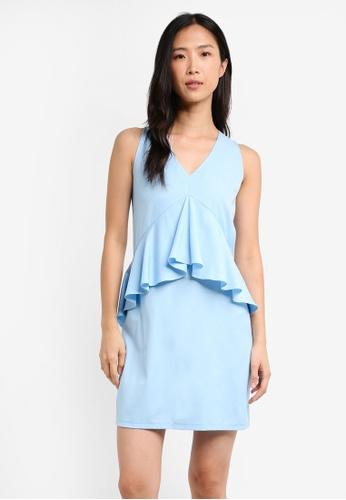 ZALORA blue Drape Peplum Shift dress F022EAAA159F4BGS_1