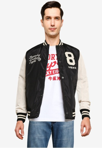 Superdry black CNY Letterman Bomber Jacket E3F68AAC7E73F3GS_1