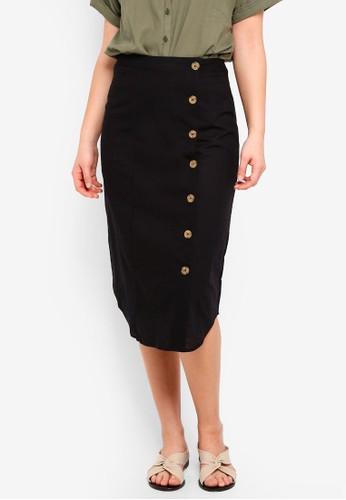 Cotton On black Woven Kelly Side Button Midi Skirt B0578AAE802D72GS_1