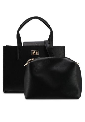 Unisa black Textured Convertible Top Handle Bag Set Of 2 C037FAC5ED30CFGS_1