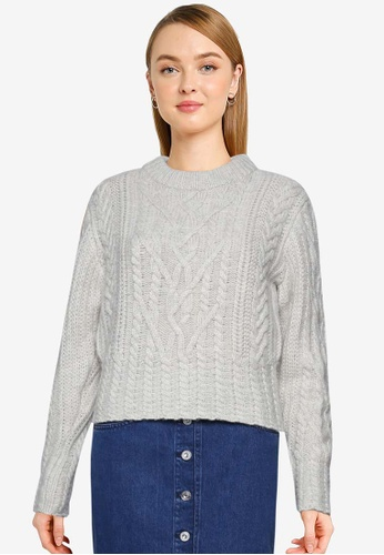 French Connection grey Joetta Cable Knit Jumper FB32DAAC27B53DGS_1