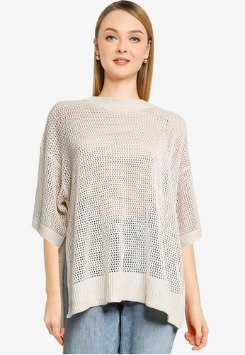 LOWRYS FARM white Open knit Work Pullover CDF7AAAD85D04AGS_1