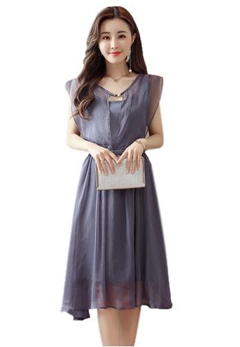 Sunnydaysweety purple New Chiffon Cap Sleeve Flared One Piece Dress CA030724PU F9B3EAA216222FGS_1
