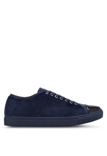 ZALORA navy Velvet Laced Up Sneakers CA49FSH2B6CF7FGS_1