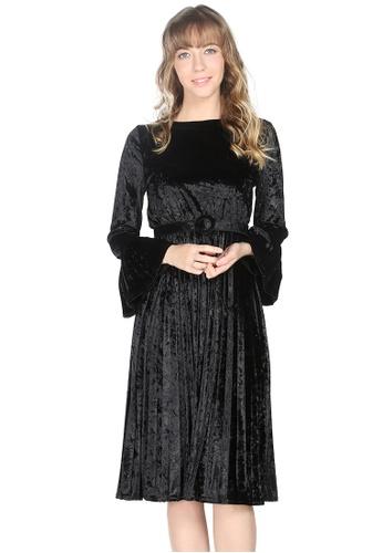 London Rag black London Rag Womens Full Sleeve Black Velvet dress LO360AA0GP22SG_1