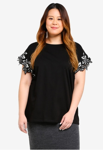 Dorothy Perkins black Plus Size Black Leaf Applique Tee 88A6AAAE1A75ACGS_1