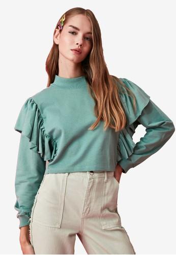 Trendyol green Ruffled Knitted Crop Sweatshirt 977C3AA3519BD5GS_1