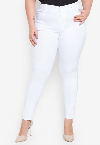 D Fashion Engineer white Wear-to-Work Stretch Pants Plus Size 565B0AA2E00FFFGS_1