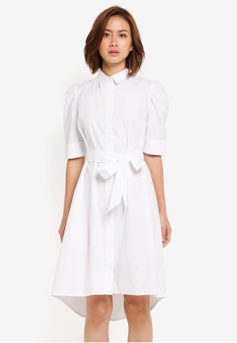 ZALORA white Puff Sleeve Shirt Dress 0FC1EAA8660EE2GS_1