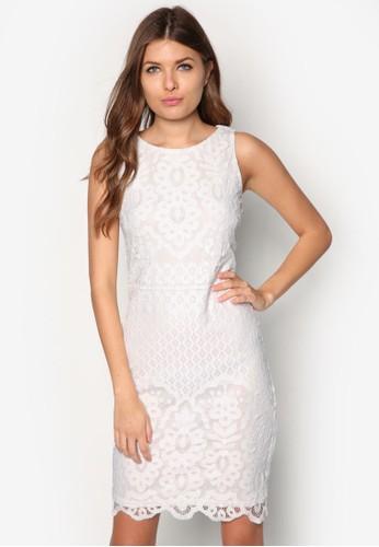 蕾絲直zalora時尚購物網的koumi koumi筒無袖洋裝, 服飾, 服飾