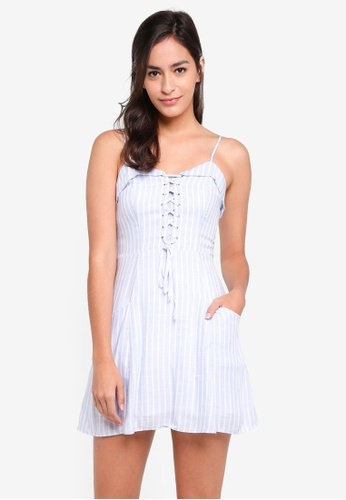 Something Borrowed blue Lace-Up Cami Dress B2E4AAAFAC174EGS_1