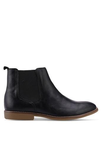 Topman black Black PU Chelsea Boots F5FBASH10B1892GS_1