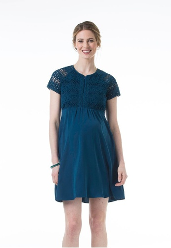 Bove by Spring Maternity blue Woven Short Sleeved Cleora Bare Back Dress Teal F7C50AA8E55EA6GS_1