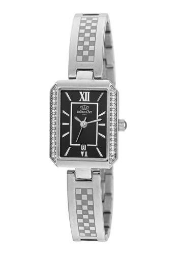 Roscani silver Roscani Heather E16 (Gemstone Bezel + WR 5ATM) Stainless Steel Black Bangle Women Watch 6428DAC0E946C0GS_1