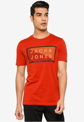 Jack & Jones red Coshawn Crew Neck Tee C4C88AAE6069BFGS_1