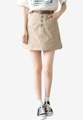 Tokichoi beige Casual Button Fly Mini Skirt 03432AA2A4BF48GS_1