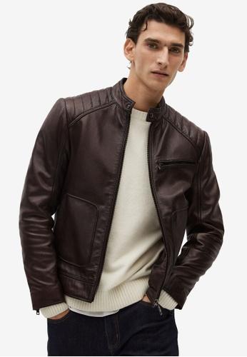 MANGO Man brown Brown Nape Biker Jacket 9EAC1AA1298765GS_1