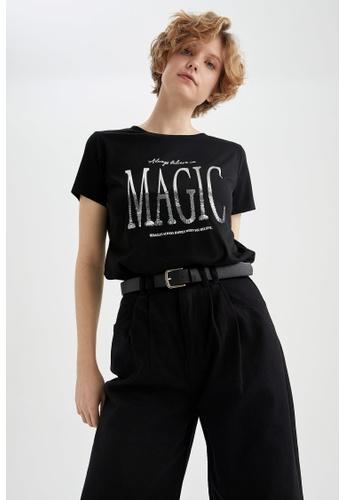 DeFacto black Short Sleeve Round Neck T-Shirt 8CA6AAA821BD41GS_1