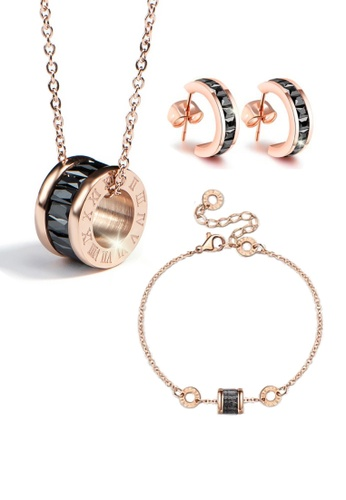 CELOVIS black and gold CELOVIS - Océane Black Cryolite Necklace + Bracelet + Earrings Set 4ADA2ACA974633GS_1