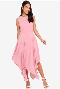 e34bbfdb15bd ZALORA pink Evening Sheer Panels Handkerchief Dress F6CCDAAB639F5FGS_1