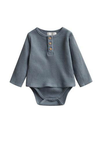 MANGO BABY blue Waffle Knit T-Shirt Bodysuit DFCFBKAD47C792GS_1