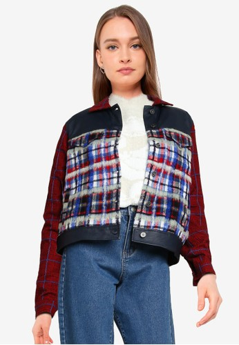 Desigual red and multi Tartan Fur Jacket 5F6E7AACB7D915GS_1