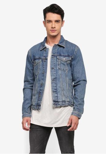 Topman 藍色 Mid Wash Denim Jacket 1C3B2AA2923A4EGS_1
