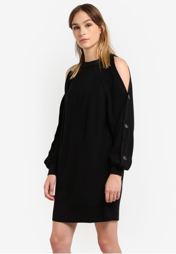 River Island black Black Buttons Dress RI009AA0RSD4MY_1