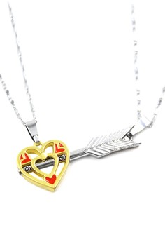 Venice Couple Necklace Golden Heart and Silver Arrow 11