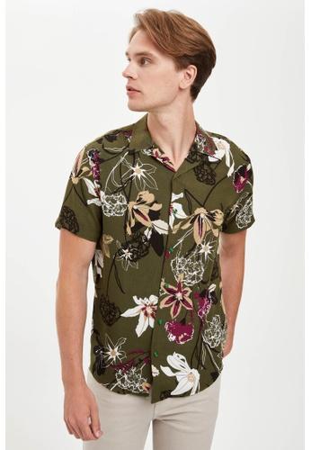 DeFacto green Man Woven Short Sleeve Shirt 36E2EAADF0BC7FGS_1