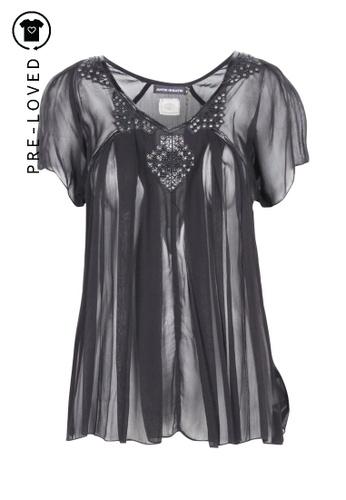 Antik Batik black Pre-Loved antik batik Black Transparent Top With Leather Trim 4B764AA95A8EACGS_1
