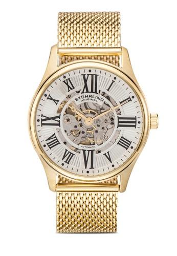 Stuhrling Original gold Mesh Bracelet Watch 49E5DAC79E1049GS_1