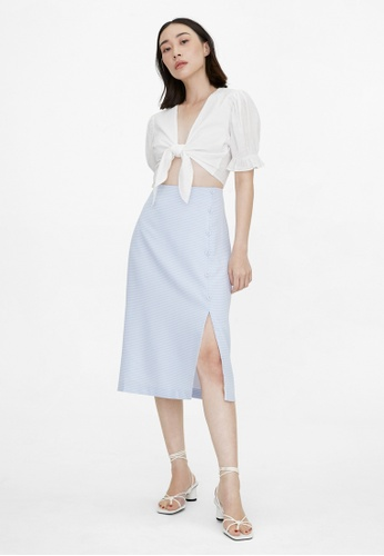 Pomelo blue Midi Side Slit Button Up Skirt - Blue 14611AAEF5C57FGS_1