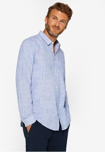 ESPRIT 藍色 混色Woven 襯衫 BFD19AAD33BBBEGS_1